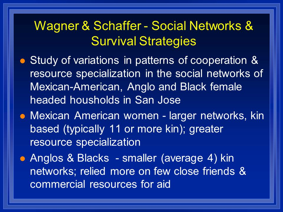 Wagner & Schaffer - Social Networks & Survival Strategies Study of variations in patterns of cooperation & resource specialization in the social networks of Mexican-American, Anglo and Black female headed housholds in San Jose Mexican American women - larger networks, kin based (typically 11 or more kin); greater resource specialization Anglos & Blacks - smaller (average 4) kin networks; relied more on few close friends & commercial resources for aid
