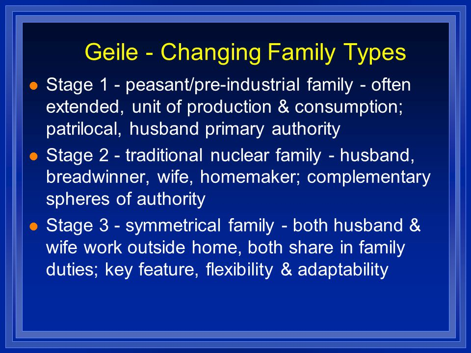 Geile - Changing Family Types Stage 1 - peasant/pre-industrial family - often extended, unit of production & consumption; patrilocal, husband primary