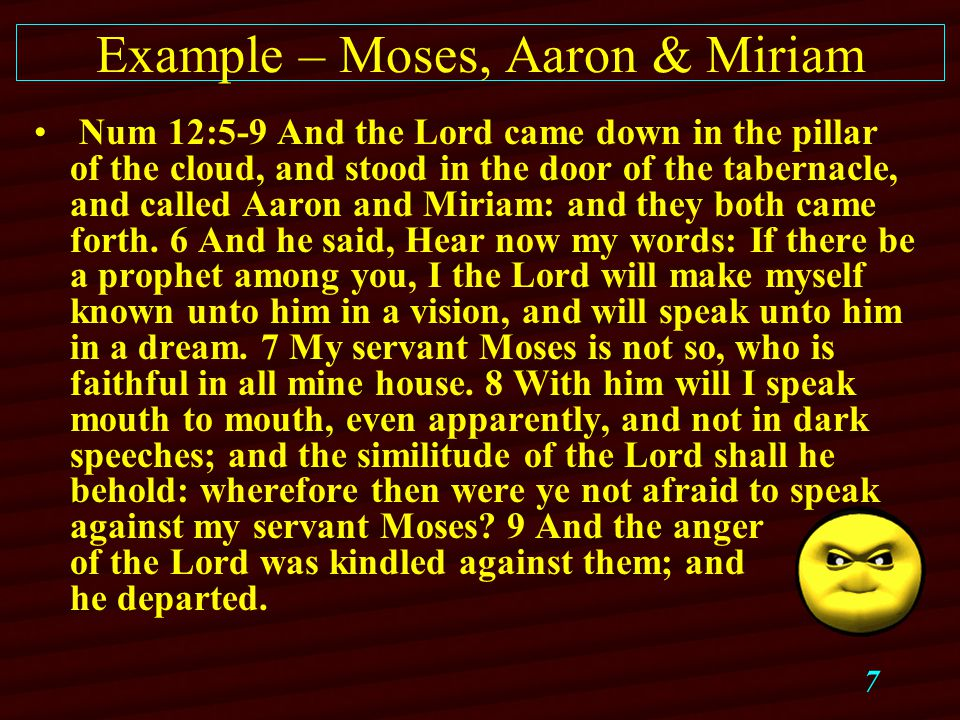 7 Example – Moses, Aaron & Miriam Num 12:5-9 And the Lord came down in the pillar of the cloud, and stood in the door of the tabernacle, and called Aaron and Miriam: and they both came forth.