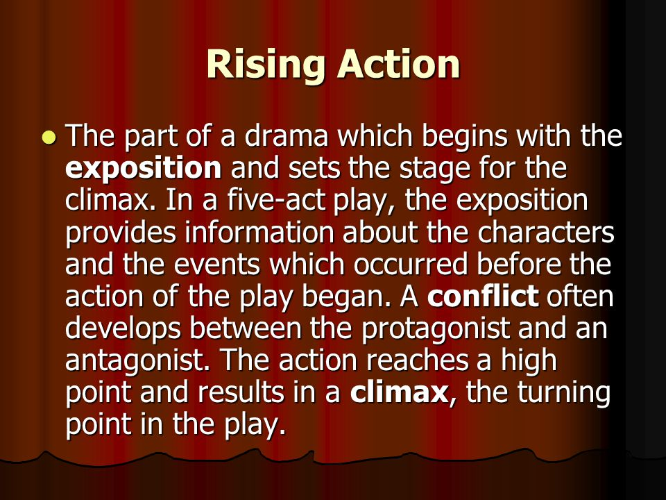 Plot The structure of a story. The sequence in which the author arranges events in a story. The structure of a five-act play often includes the rising