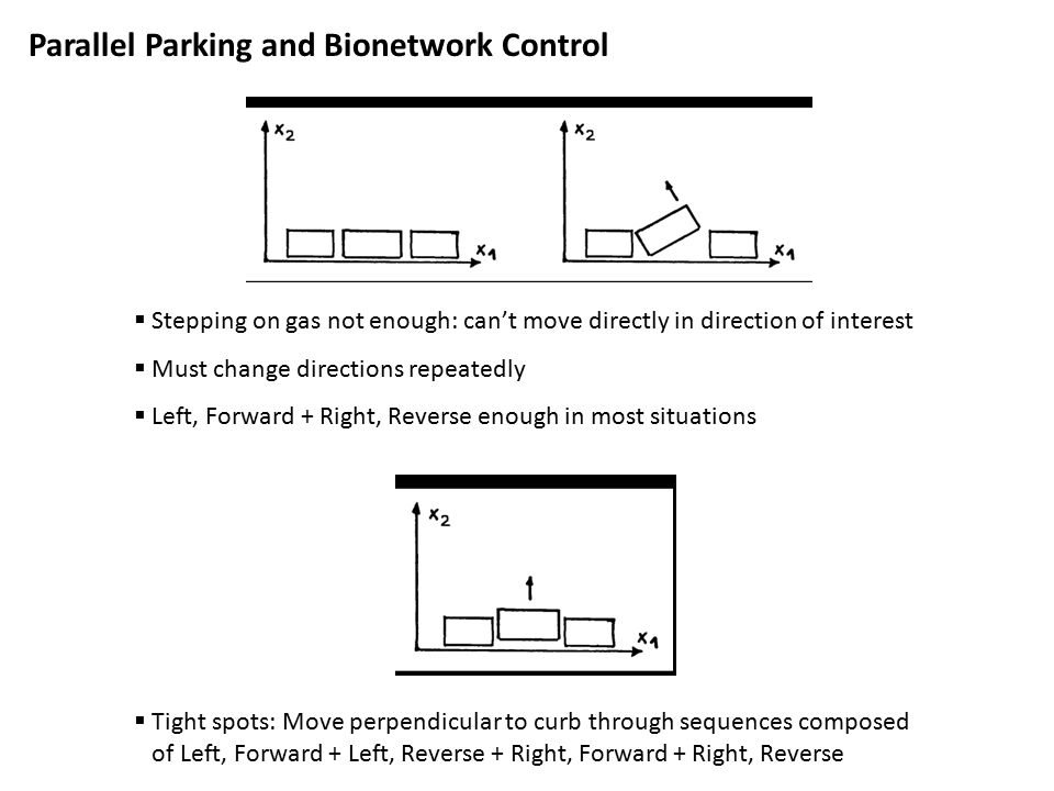 Parallel Parking and Bionetwork Control  Tight spots: Move perpendicular to curb through sequences composed of Left, Forward + Left, Reverse + Right, Forward + Right, Reverse  Stepping on gas not enough: can't move directly in direction of interest  Must change directions repeatedly  Left, Forward + Right, Reverse enough in most situations