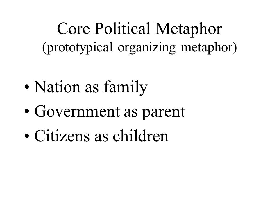 Core Political Metaphor (prototypical organizing metaphor) Nation as family Government as parent Citizens as children