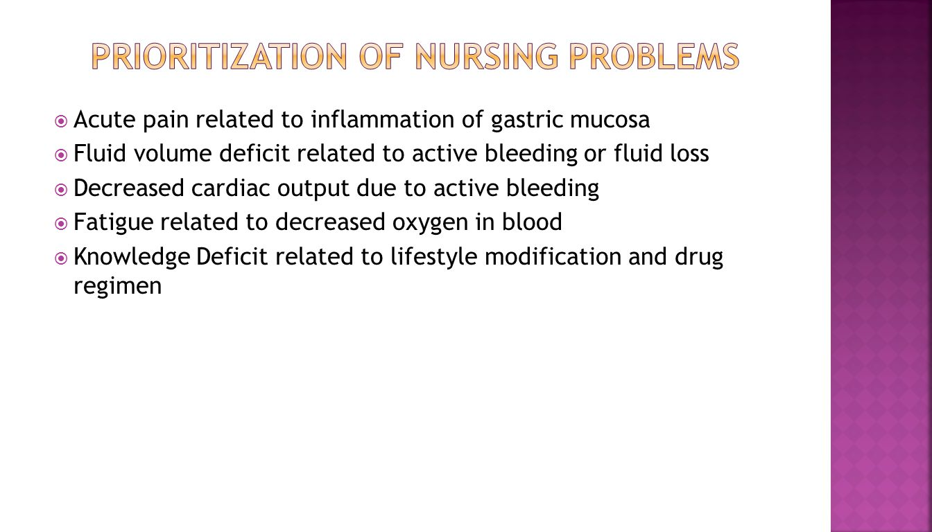  Acute pain related to inflammation of gastric mucosa  Fluid volume deficit related to active bleeding or fluid loss  Decreased cardiac output due