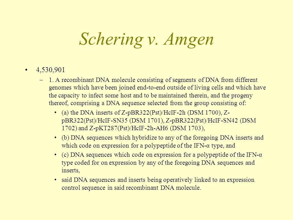 Schering v. Amgen 4,530,901 –1.