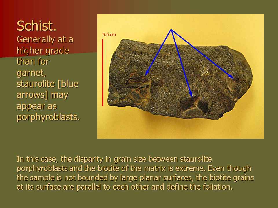 Schist. Generally at a higher grade than for garnet, staurolite [blue arrows] may appear as porphyroblasts. In this case, the disparity in grain size