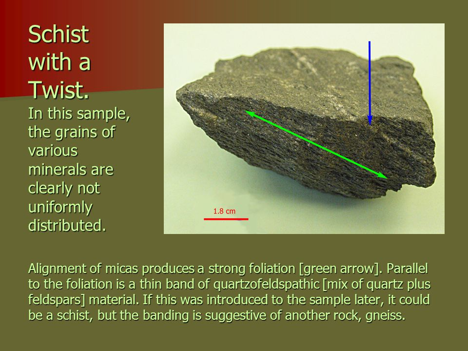 Schist with a Twist. In this sample, the grains of various minerals are clearly not uniformly distributed. Alignment of micas produces a strong foliat