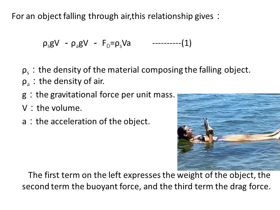 For an object falling through air,this relationship gives : ρ s gV - ρ a gV - F D =ρ s Va ----------(1) ρ s : the density of the material composing the falling object.