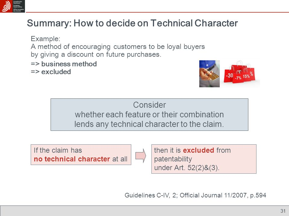 31 Summary: How to decide on Technical Character Example: A method of encouraging customers to be loyal buyers by giving a discount on future purchase