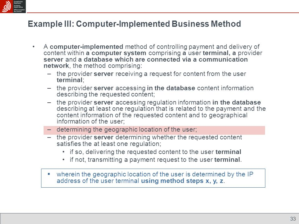 A computer-implemented method of controlling payment and delivery of content within a computer system comprising a user terminal, a provider server and a database which are connected via a communication network, the method comprising: –the provider server receiving a request for content from the user terminal; –the provider server accessing in the database content information describing the requested content; –the provider server accessing regulation information in the database describing at least one regulation that is related to the payment and the content information of the requested content and to geographical information of the user; –determining the geographic location of the user; –the provider server determining whether the requested content satisfies the at least one regulation; if so, delivering the requested content to the user terminal if not, transmitting a payment request to the user terminal.