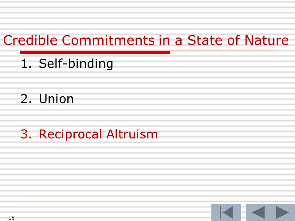 15 Credible Commitments in a State of Nature 1.Self-binding 2.Union 3.Reciprocal Altruism 15