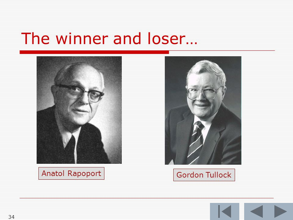 The winner and loser… Anatol Rapoport Gordon Tullock 34