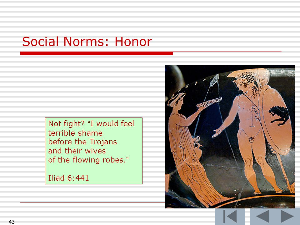 43 Social Norms: Honor 43 Not fight.