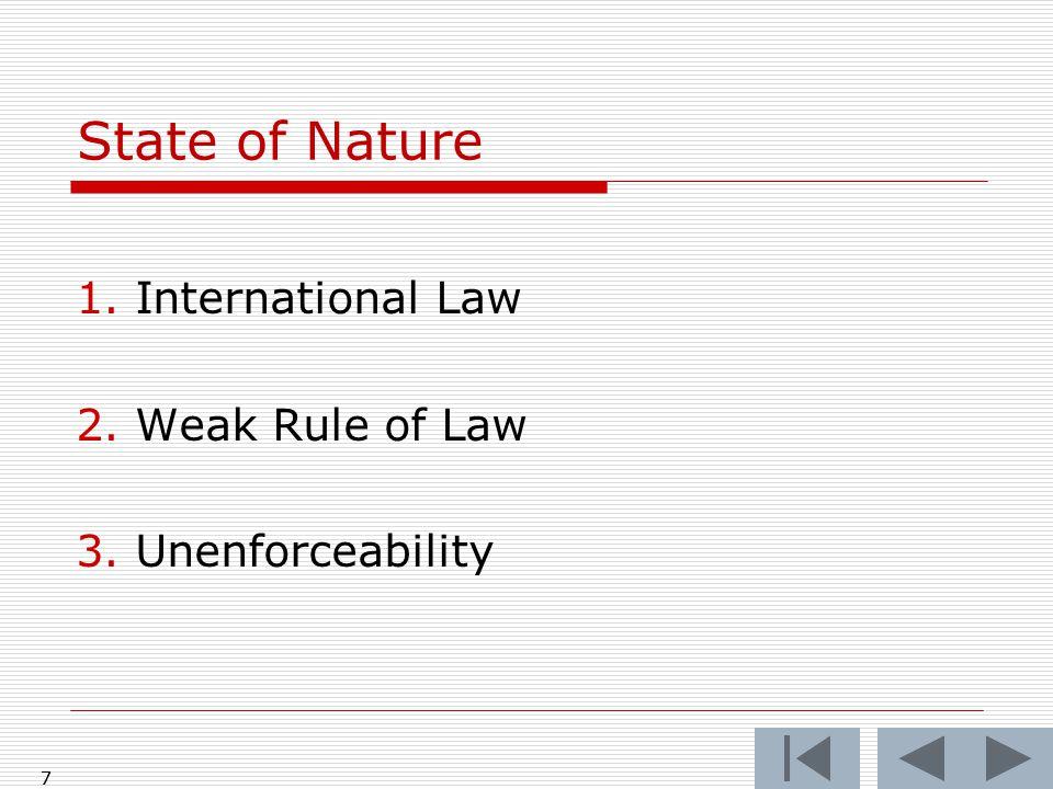 8 State of Nature: I.International Law Signing of NAFTA Treaty 1992 8