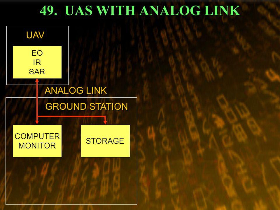 49. UAS WITH ANALOG LINK COMPUTER MONITOR EO IR SAR STORAGE UAV GROUND STATION ANALOG LINK