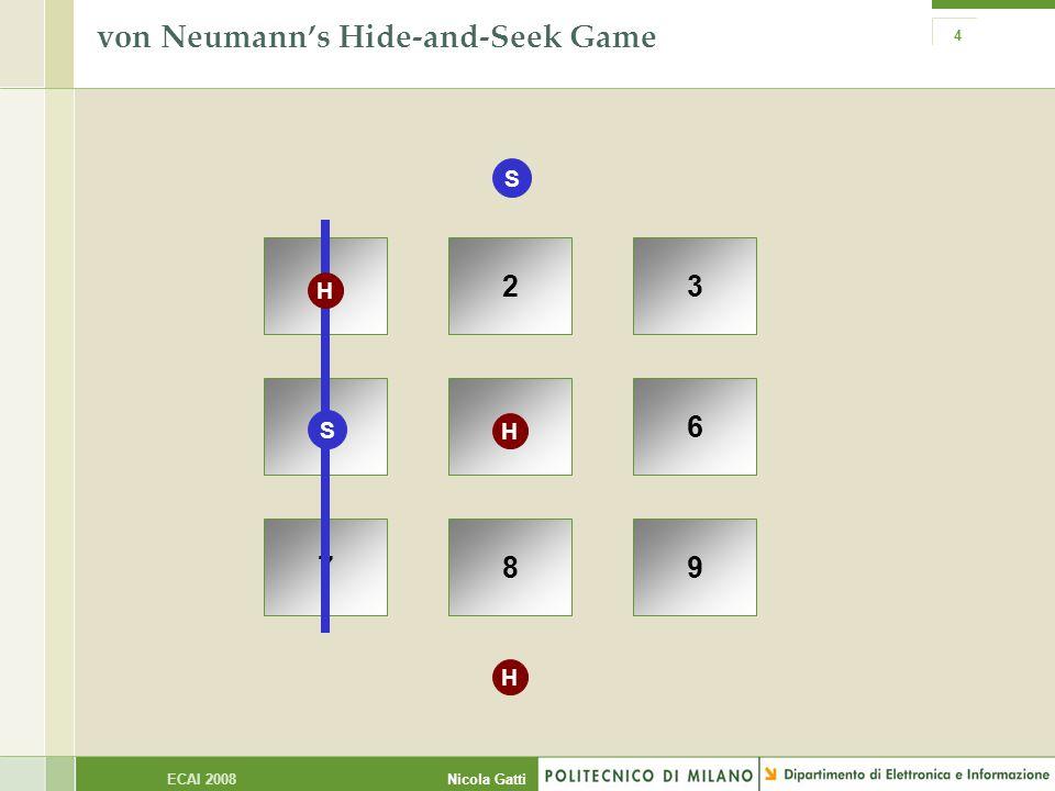 Nicola GattiECAI 2008 4 von Neumann's Hide-and-Seek Game 123 456 789 S H S H H