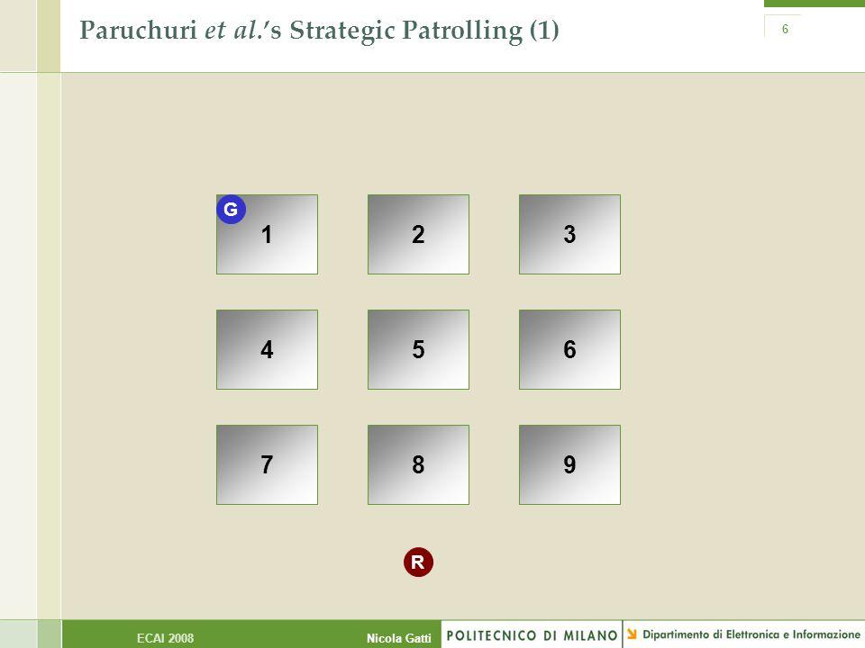 Nicola GattiECAI 2008 6 Paruchuri et al.'s Strategic Patrolling (1) 123 456 789 G R