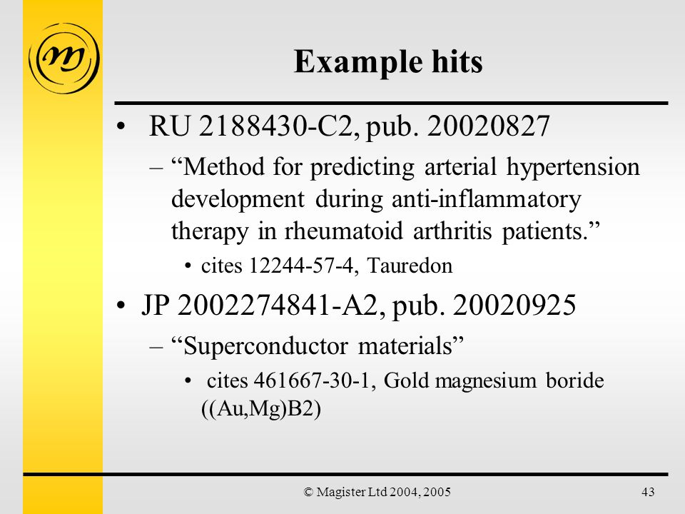 © Magister Ltd 2004, 200543 Example hits RU 2188430-C2, pub.