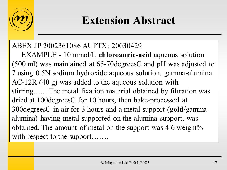 © Magister Ltd 2004, 200547 Extension Abstract ABEX JP 2002361086 AUPTX: 20030429 EXAMPLE - 10 mmol/L chloroauric-acid aqueous solution (500 ml) was maintained at 65-70degreesC and pH was adjusted to 7 using 0.5N sodium hydroxide aqueous solution.