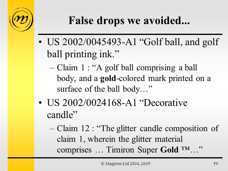 © Magister Ltd 2004, 200559 False drops we avoided...