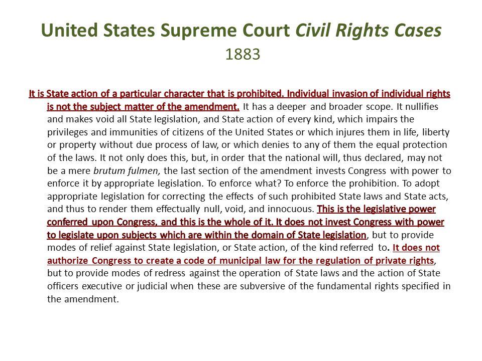 United States Supreme Court Civil Rights Cases 1883