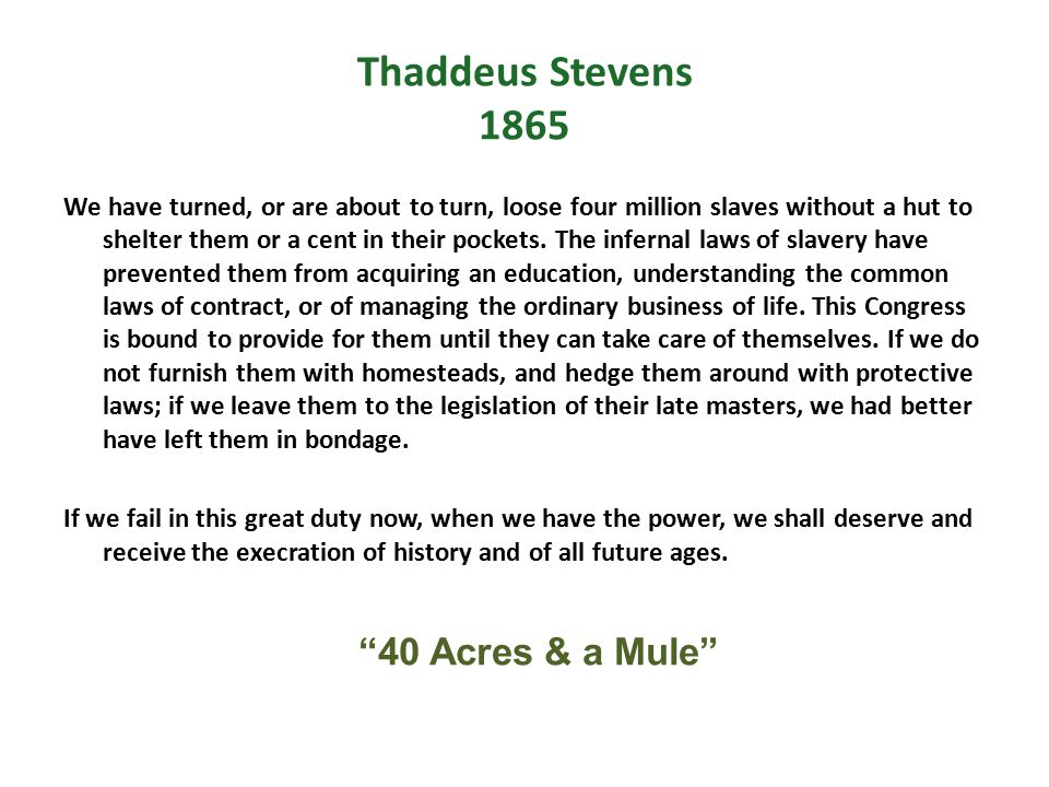 Thaddeus Stevens 1865 We have turned, or are about to turn, loose four million slaves without a hut to shelter them or a cent in their pockets. The in