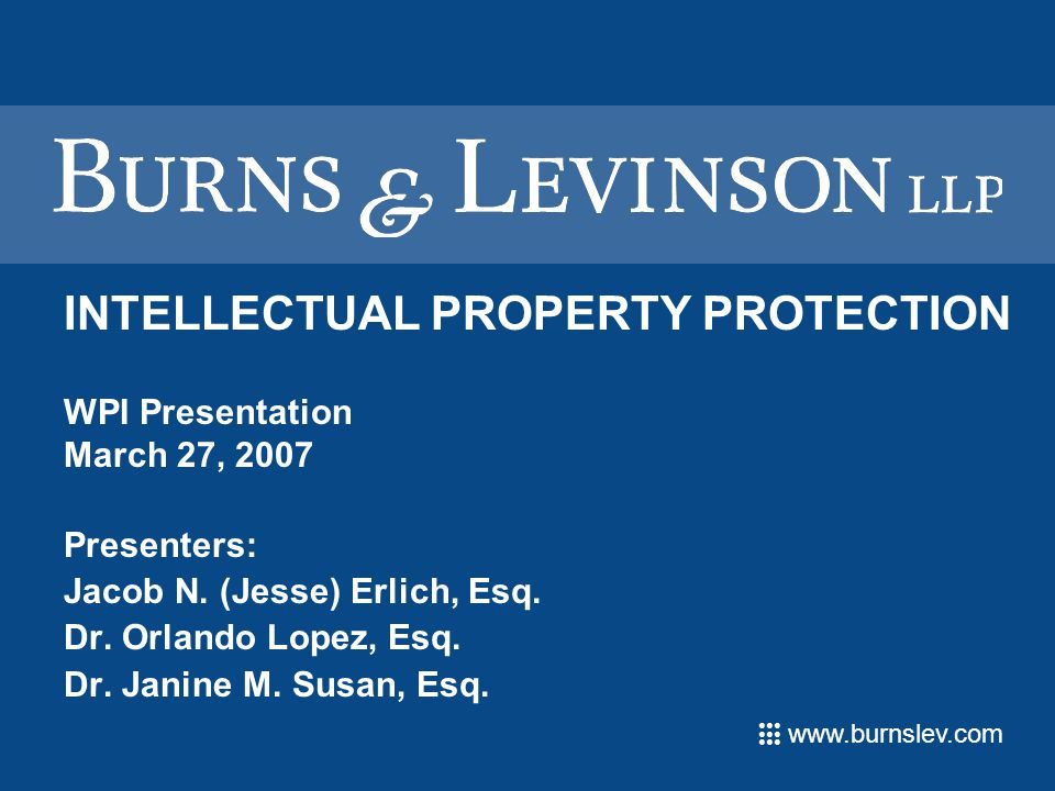 www.burnslev.com INTELLECTUAL PROPERTY PROTECTION WPI Presentation March 27, 2007 Presenters: Jacob N.