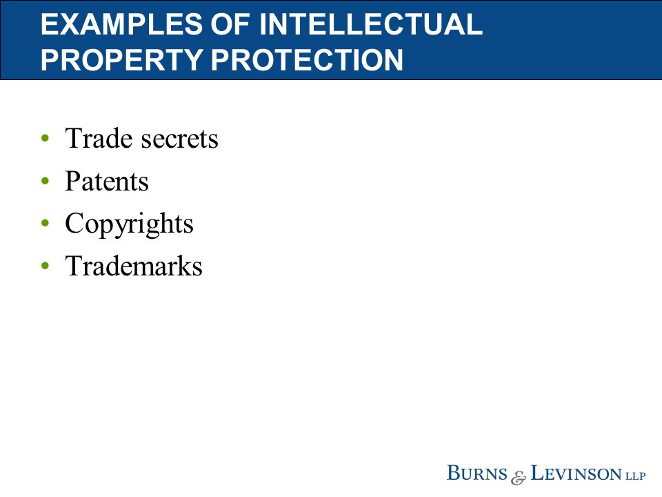 EXAMPLES OF INTELLECTUAL PROPERTY PROTECTION Trade secrets Patents Copyrights Trademarks