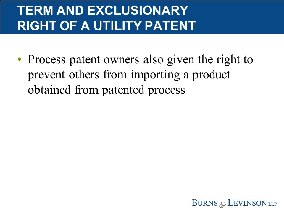 TERM AND EXCLUSIONARY RIGHT OF A UTILITY PATENT Process patent owners also given the right to prevent others from importing a product obtained from patented process