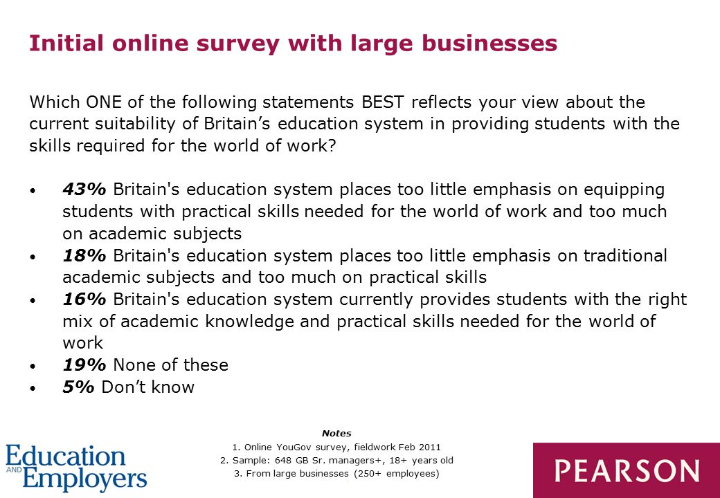 4 Initial online survey with large businesses Which ONE of the following statements BEST reflects your view about the current suitability of Britain's education system in providing students with the skills required for the world of work.