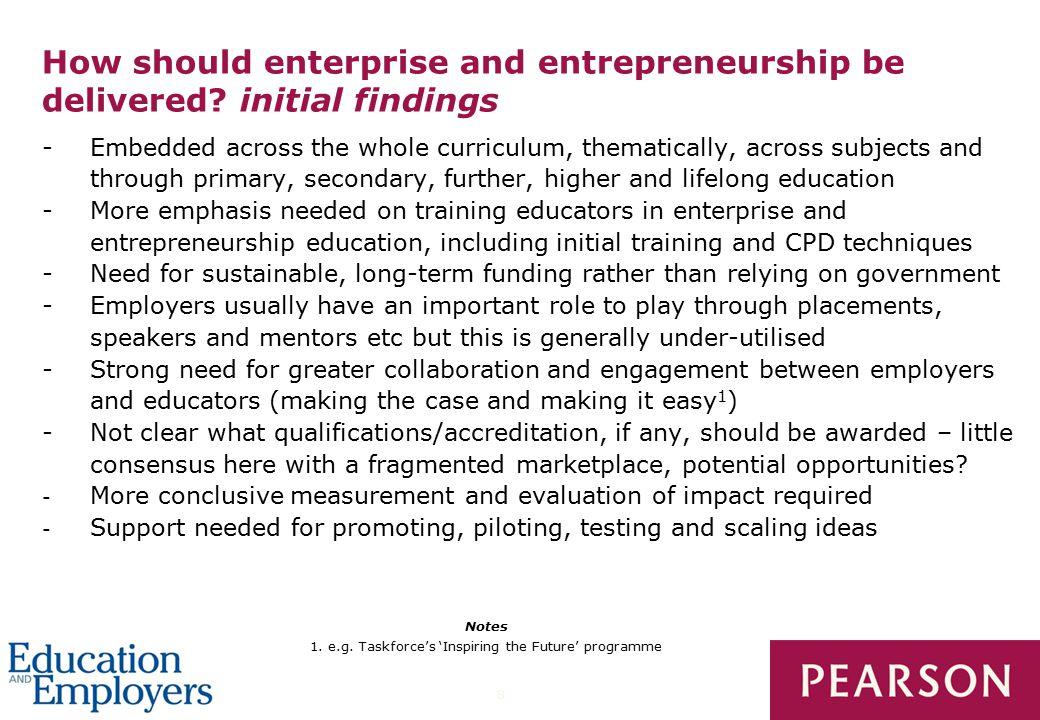 8 How should enterprise and entrepreneurship be delivered.
