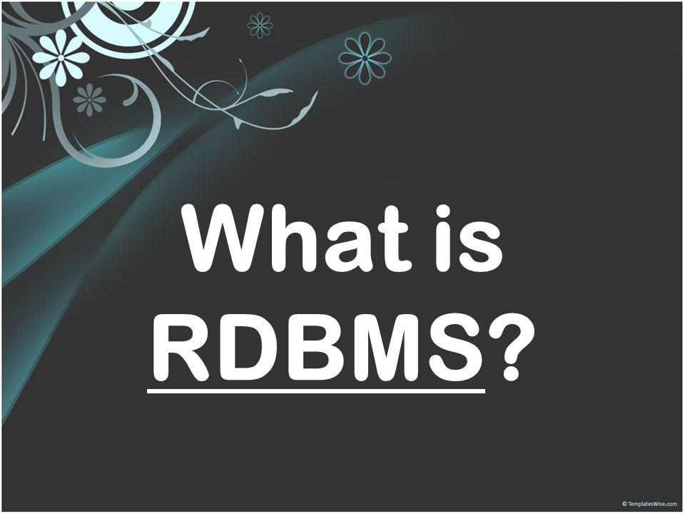 What is RDBMS