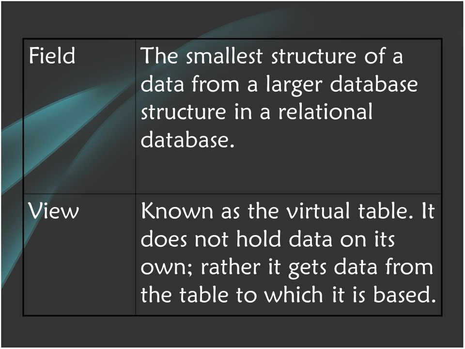 FieldThe smallest structure of a data from a larger database structure in a relational database.