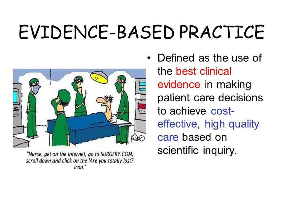 EVIDENCE-BASED PRACTICE Defined as the use of the best clinical evidence in making patient care decisions to achieve cost- effective, high quality care based on scientific inquiry.