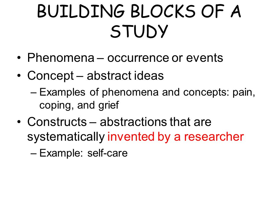BUILDING BLOCKS OF A STUDY Phenomena – occurrence or events Concept – abstract ideas –Examples of phenomena and concepts: pain, coping, and grief Constructs – abstractions that are systematically invented by a researcher –Example: self-care