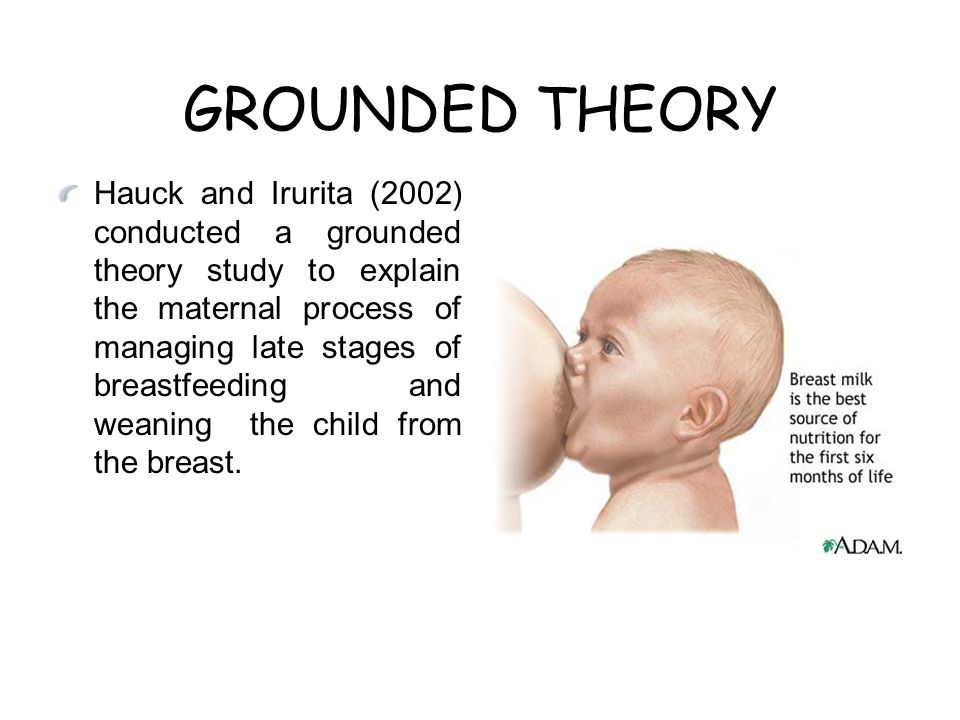 GROUNDED THEORY Hauck and Irurita (2002) conducted a grounded theory study to explain the maternal process of managing late stages of breastfeeding and weaning the child from the breast.
