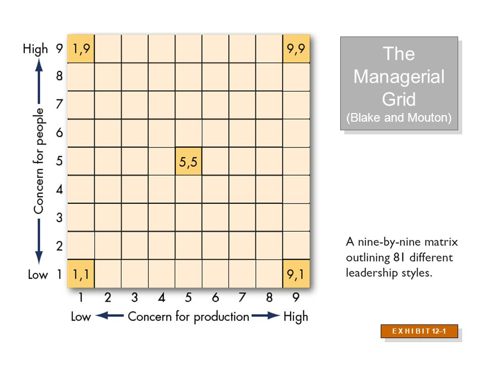 The Managerial Grid (Blake and Mouton) E X H I B I T 12–1