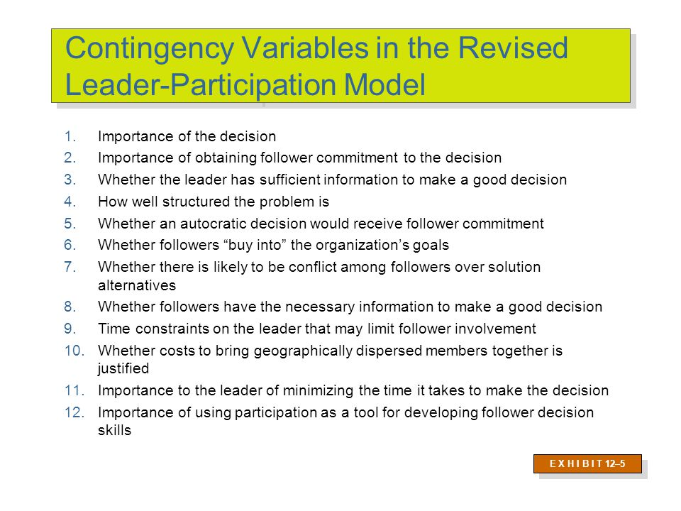 Contingency Variables in the Revised Leader-Participation Model E X H I B I T 12–5 1.Importance of the decision 2.Importance of obtaining follower com