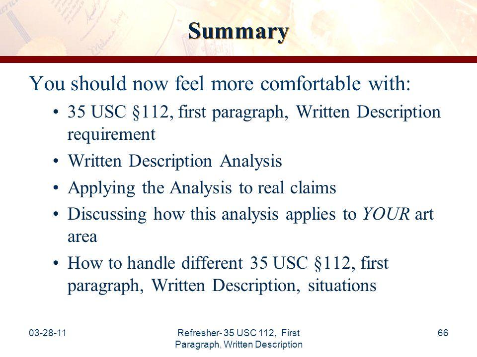 03-28-11Refresher- 35 USC 112, First Paragraph, Written Description 67 Reference Materials Written Description Guidelines (66 FR 1099 (Jan.