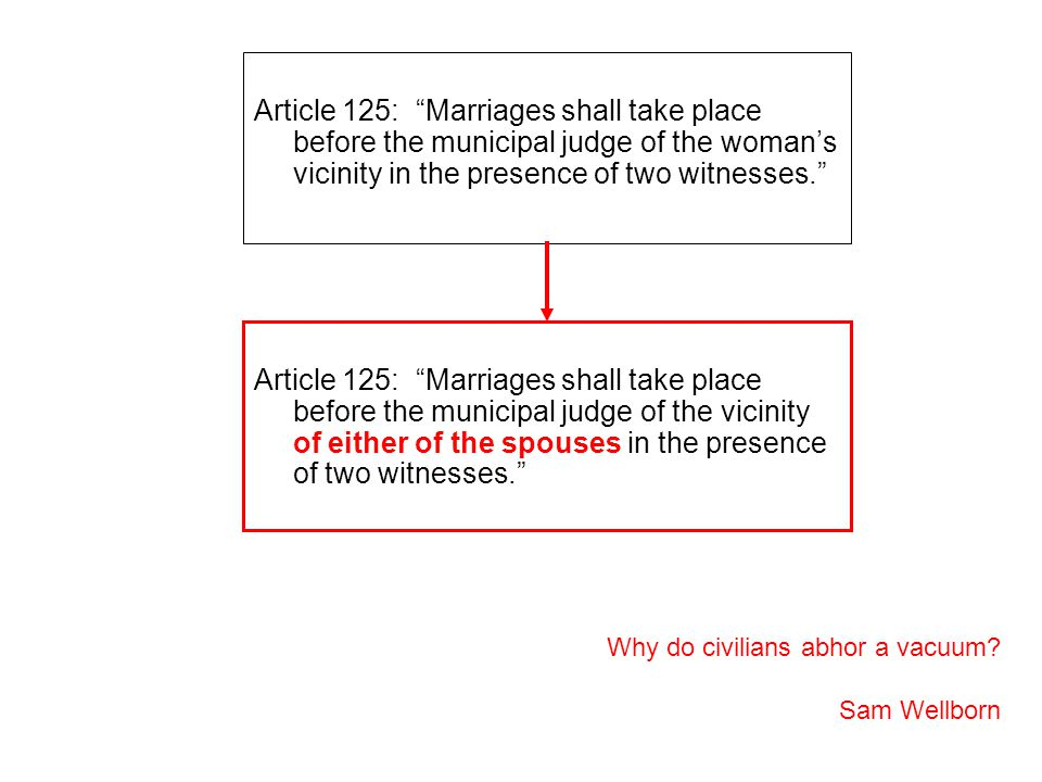 Article 125: Marriages shall take place before the municipal judge of the woman's vicinity in the presence of two witnesses. Why do civilians abhor a vacuum.