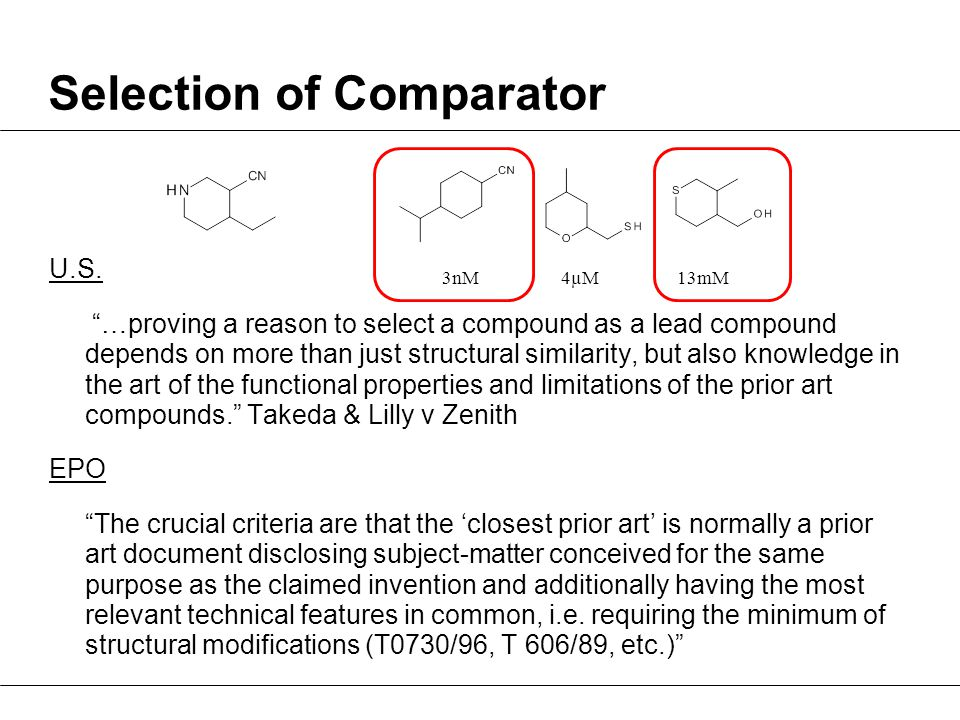 Selection of Comparator U.S.