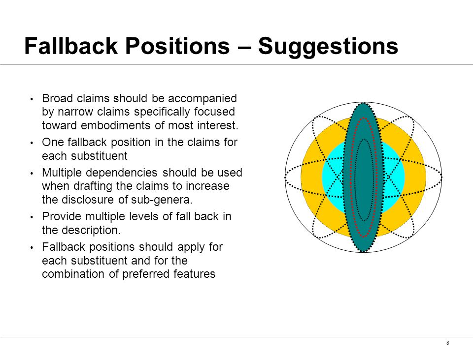 8 Fallback Positions – Suggestions Broad claims should be accompanied by narrow claims specifically focused toward embodiments of most interest.