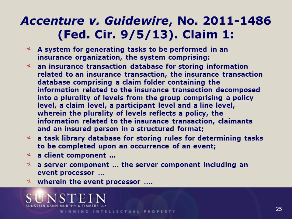 25 Accenture v. Guidewire, No. 2011-1486 (Fed. Cir.
