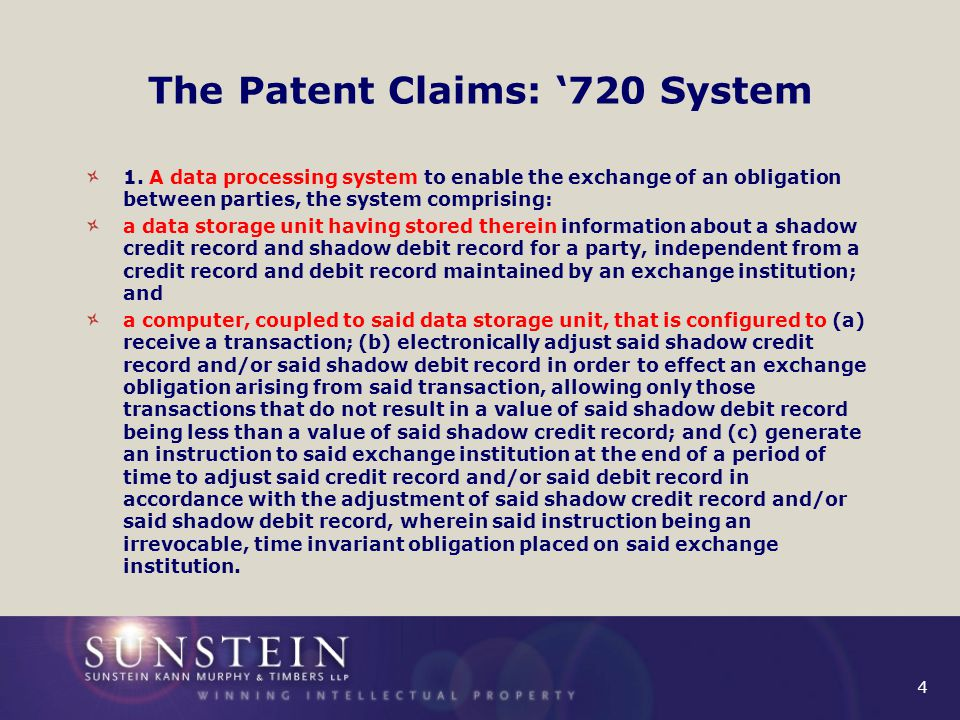 4 The Patent Claims: '720 System 1.