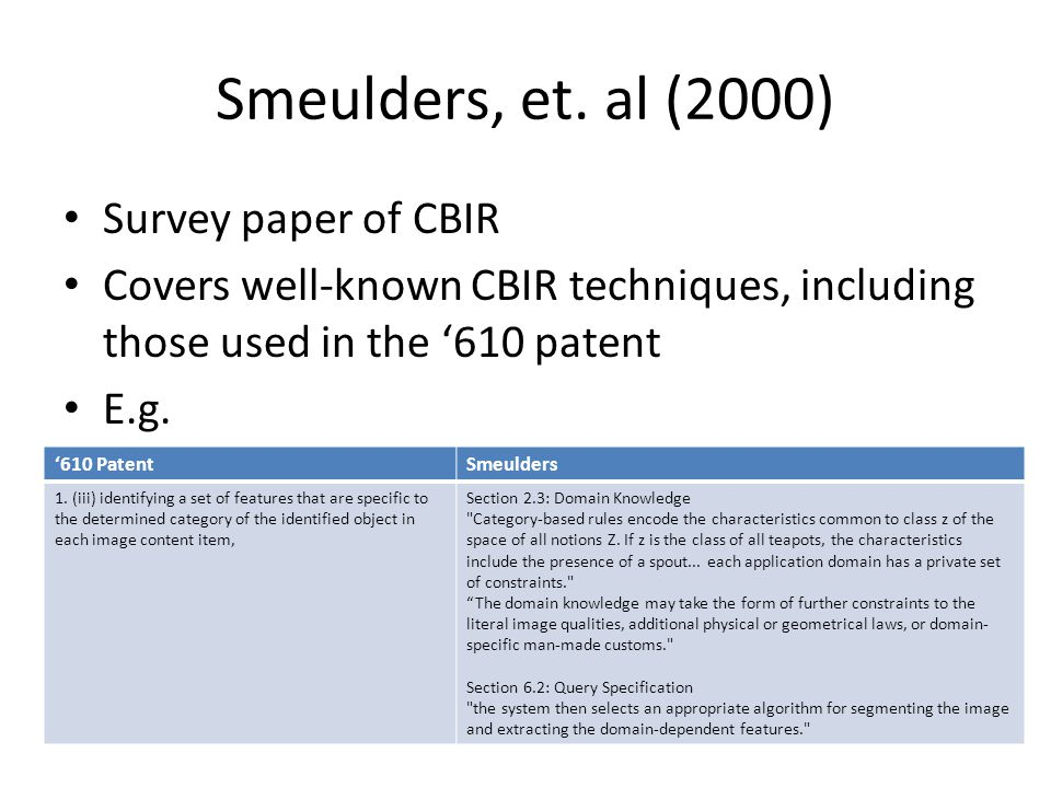 Smeulders, et. al (2000) Survey paper of CBIR Covers well-known CBIR techniques, including those used in the '610 patent E.g. '610 PatentSmeulders 1.