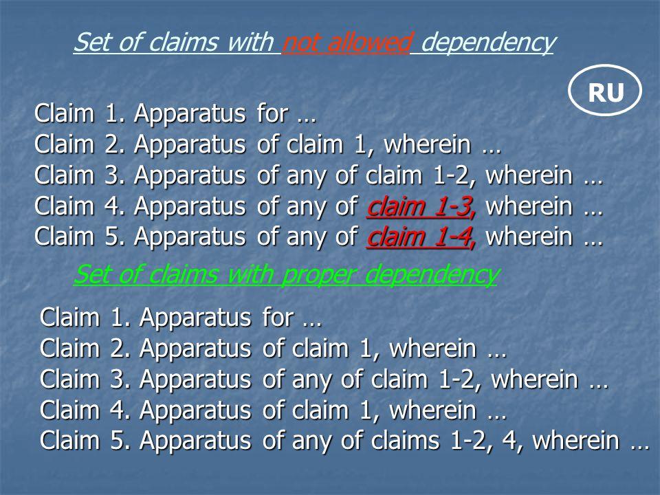 Claim 1. Apparatus for … Claim 2. Apparatus of claim 1, wherein … Claim 3. Apparatus of any of claim 1-2, wherein … Claim 4. Apparatus of any of claim