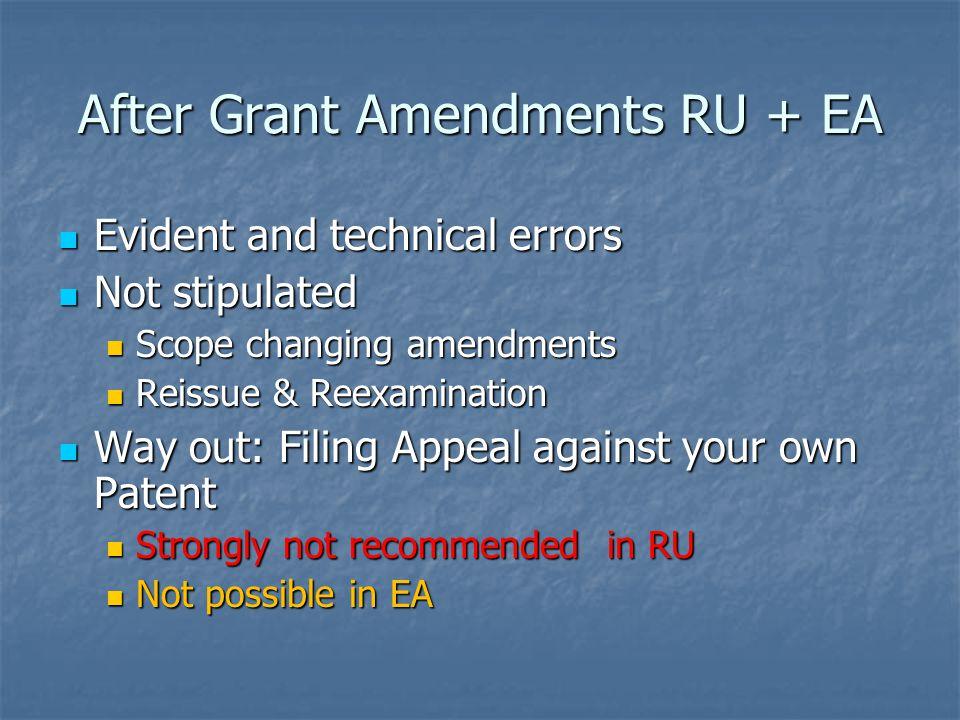After Grant Amendments RU + EA Evident and technical errors Evident and technical errors Not stipulated Not stipulated Scope changing amendments Scope