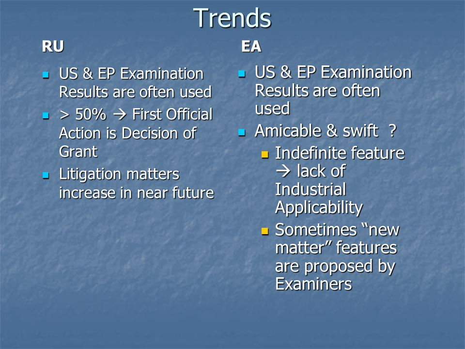 Trends RU US & EP Examination Results are often used US & EP Examination Results are often used > 50%  First Official Action is Decision of Grant > 5