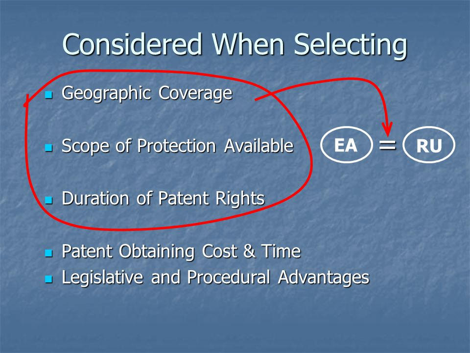 Considered When Selecting Geographic Coverage Geographic Coverage Scope of Protection Available Scope of Protection Available Duration of Patent Right