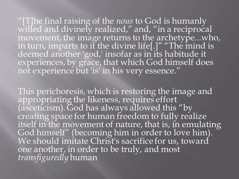 [T]he final raising of the nous to God is humanly willed and divinely realized, and, in a reciprocal movement, the image returns to the archetype...who, in turn, imparts to it the divine life[.] The mind is deemed another god, insofar as in its habitude it experiences, by grace, that which God himself does not experience but is in his very essence. This perichoresis, which is restoring the image and appropriating the likeness, requires effort (asceticism).