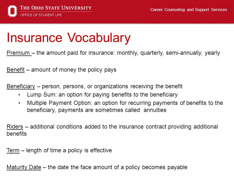 Insurance Vocabulary Career Counseling and Support Services Premium – the amount paid for insurance: monthly, quarterly, semi-annually, yearly Benefit